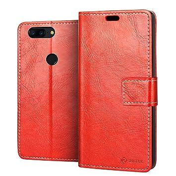 RIFFUE® Funda OnePlus 5T, Carcasa One Plus 5T Libro Piel PU ...
