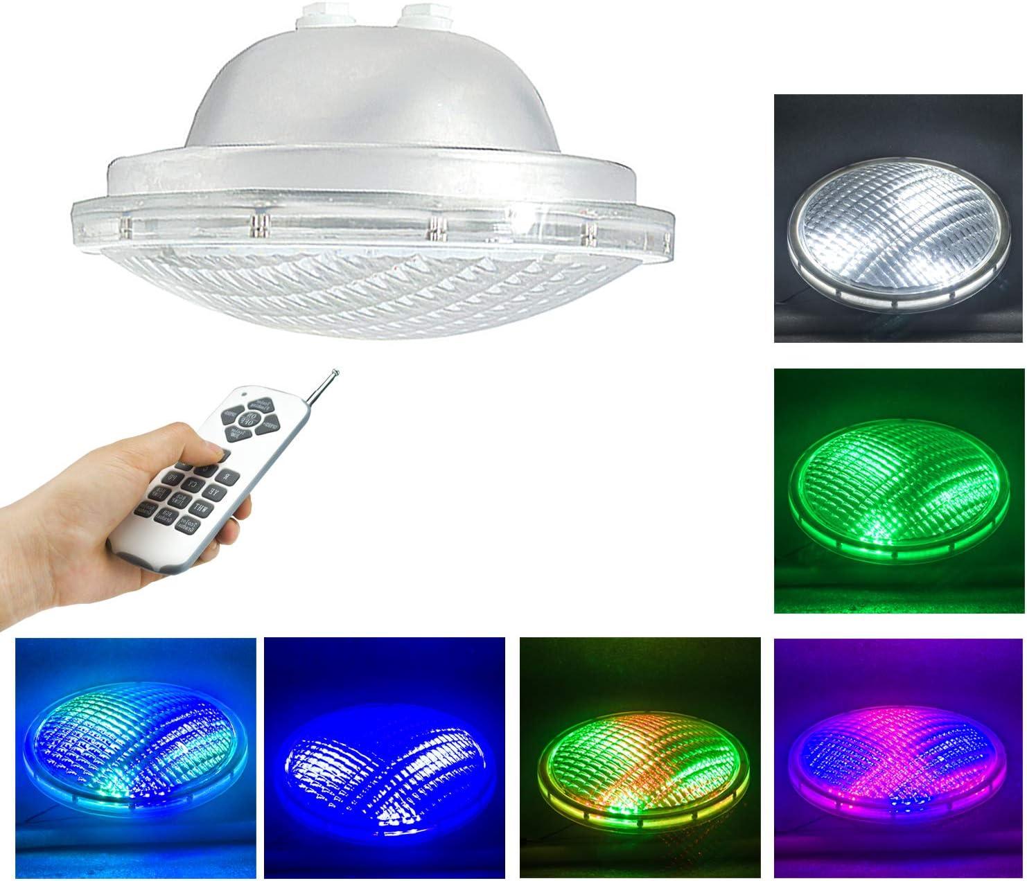 PAR 56 LED Piscina,AC/DC 12V 54W Led Piscina Iluminacion Con Mando a Distancia,IP68 Impermeable Foco de Piscina lámpara para piscinas(Par56 54W-RGBW