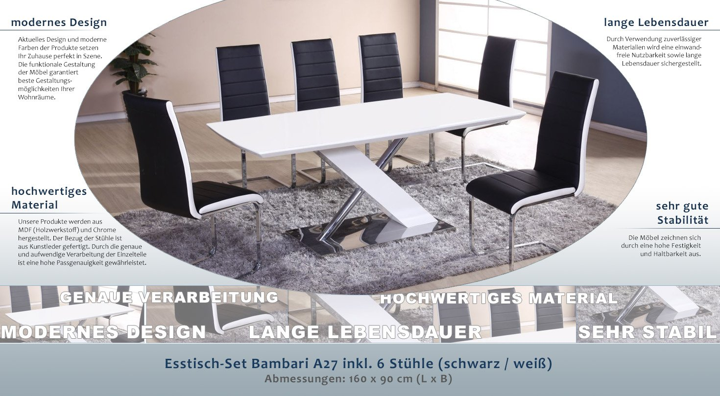 Sympathisch Esstisch Stühle Schwarz Referenz Von Esstisch-set Bambari A27 Inkl. 6 Stühle (schwarz