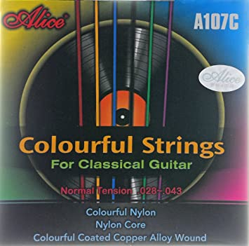 Cuerdas de nylon alice, cuerdas para guitarra clásica (a color): Amazon.es: Instrumentos musicales