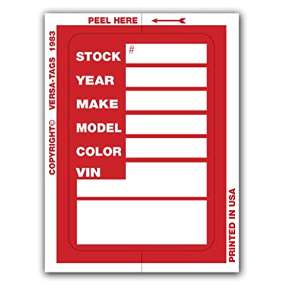 Versa Tags Kleer-bak Stock Stickers (100 Stickers, Red): Automotive [5Bkhe2007629]