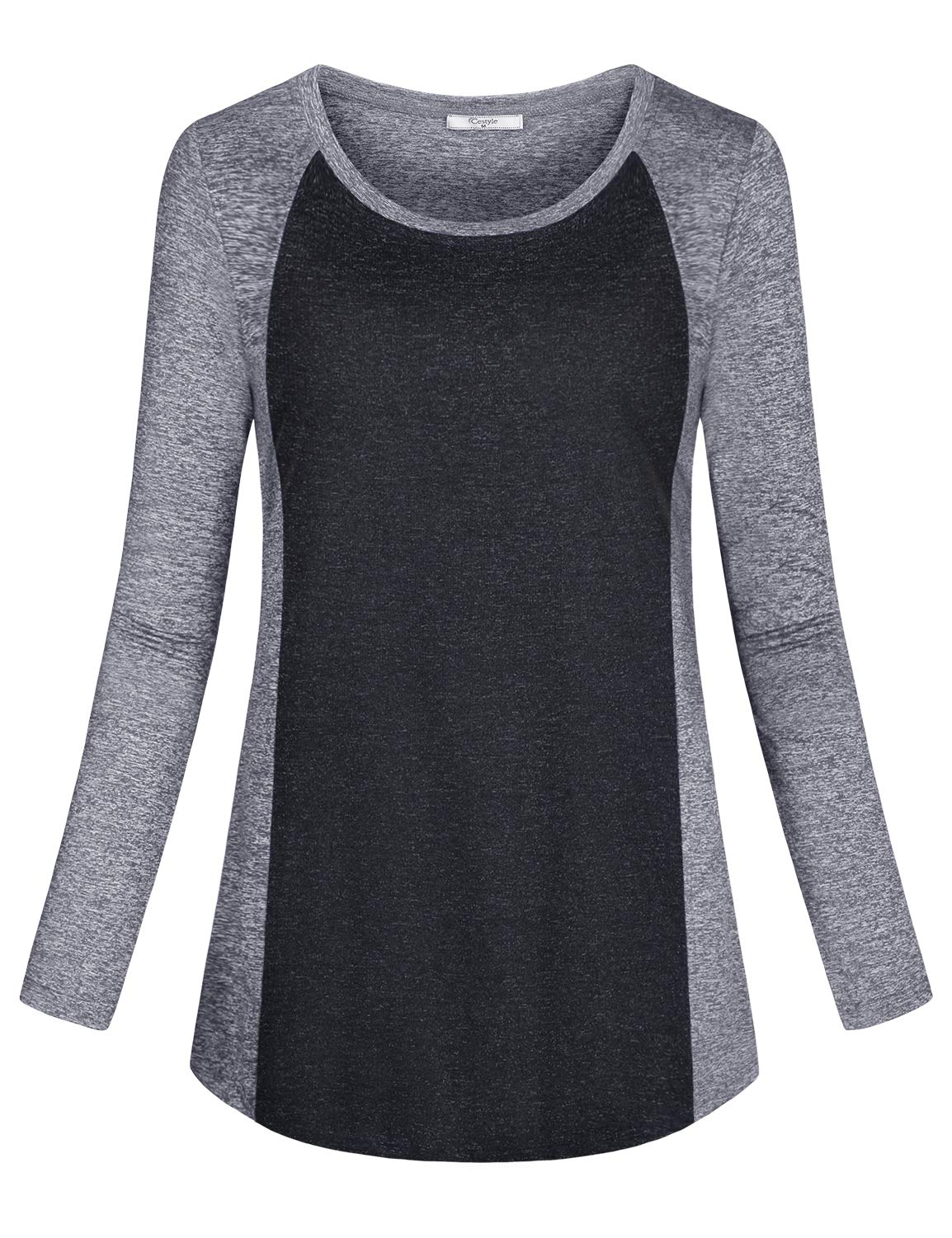 Cestyle Workout Tops for Women Long Sleeve,Ladies Activewear Wicking Shirt Gym Wear Patchwork Crew Neck Tees Loose Fit Outdoor Clothing Light Grey XX-Large