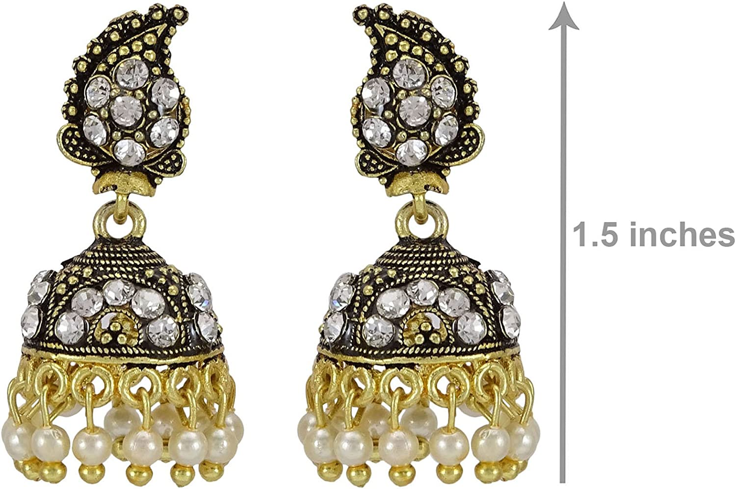 Banithani Designer indienne Gold Tone CZ Pierre Indian femmes Dangle boucles doreilles Parti Bijoux