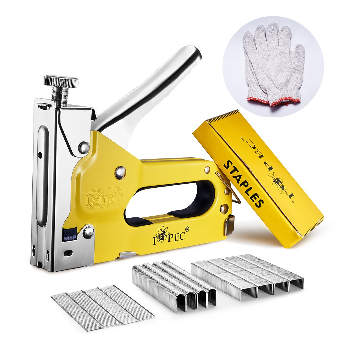 Staple Gun, Topec 3 in 1 Staple/Brad Nail Gun with 1800 Staples & A Pair of Gloves, 3 Way Tacker for Upholstery, Fixing Material, Decoration, Carpentry, Furniture, Billboards (non-rubber grip)