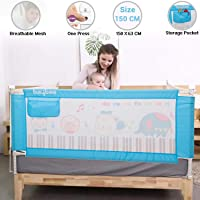 Baybee Bed Rail Guard for Baby Safety-Portable and Foldable Full Bed Rail for Kids (Blue, 150x63 cm)