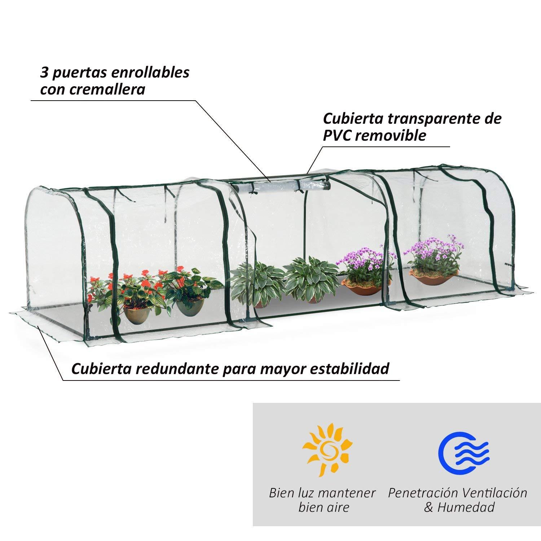 Outsunny Invernadero Caseta 300x100x80cm para Jardín Terraza Cultivo de Plantas Semilla Invernadero de Jardín Vivero Casero Tipo Túnel Marco Acero y PVC: ...