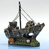 Bestgle Aquarium Ornament Wreck Sailing Fish Boat Sunk Ship Destroyer Fish Tank Decorations Resin