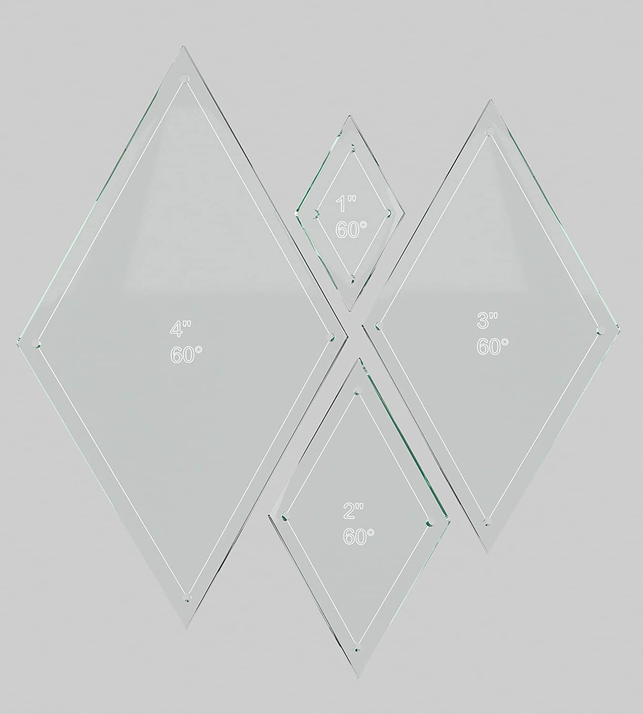 Diamond Quilting Acrylic Templates 4', 3', 2', 1' 60 Degree 1/4' Seam Allowance, 1/8' Acrylic