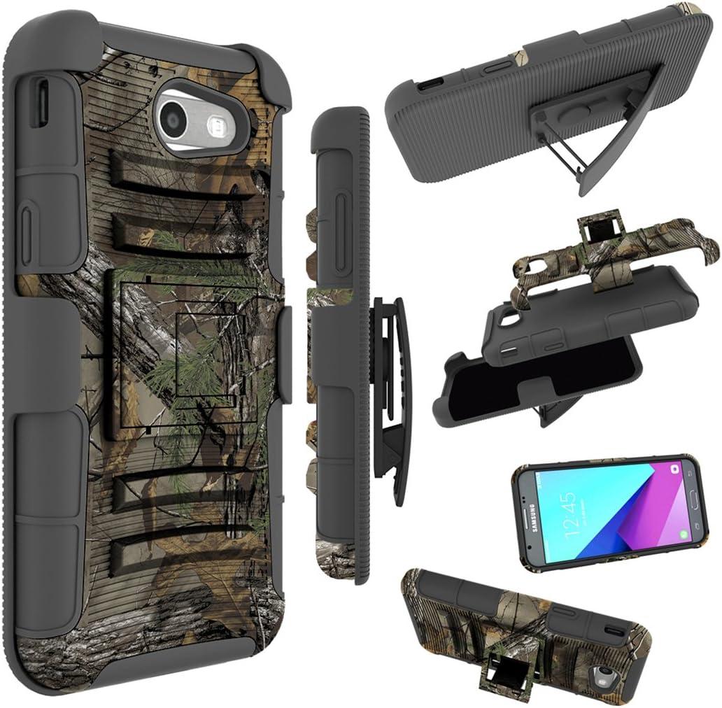 for Samsung Galaxy J3 Emerge Case, J3 Prime / J3 Eclipse / J3 2017 / J3 Luna Pro/Sol 2 / Amp Prime 2 / Express Prime 2 Cover, Zoeirc Shock Proof Dual Layer with Kickstand & Belt Clip Holster (camo)