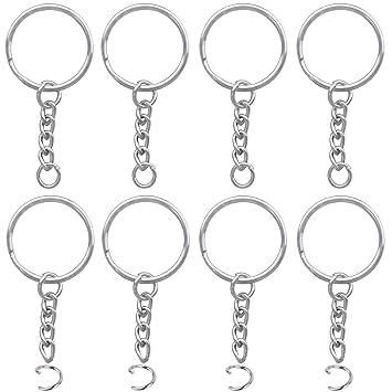 100 Piezas Anillo de Llavero de Metal con Cadena de eslabones y Anillos de Salto Abierto de 100 Piezas
