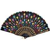 RICISUNG Colored Embroidered Flower Pattern Black Cloth Folding Hand Fan for Woman