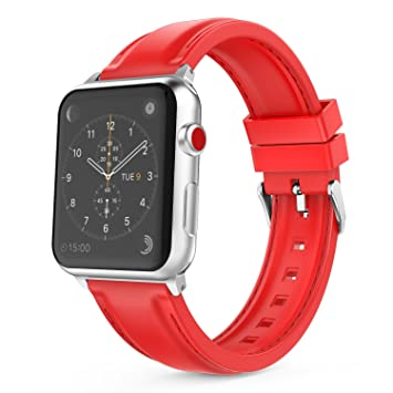 MoKo Correa para Apple Watch 42mm 44mm- Reemplazo Suave Silicona SmartWatch Band Deportiva con Puntadas para Apple Watch 42mm 44mm Series 1/2/3/4, ...