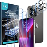 [3+3 Pack] LK 3 Pack Screen Protector for iPhone 13 Pro Max with 3 Pack Camera Lens Protector, Tempered Glass Film, HD Screen