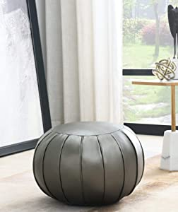 Comfortland Unstuffed Pouf Covers, Folding Faux Leather Ottoman Poufs,20 x11 Foot Rest, Foot Stool, Bean Bag Chair, Storage Solution for Living Room, Bedroom, Kids Room or Wedding Gifts(Dark Grey)