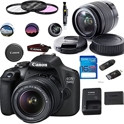 Canon EOS 1500D/Rebel T7 DSLR Camera with EF-S 18-55mm f/3 5-5 6 IS II Lens  - Deal-Expo Accessories Bundle