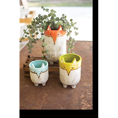 GwG Outlet Set of Three Ceramic Fox Planters CDV1865 : Garden & Outdoor