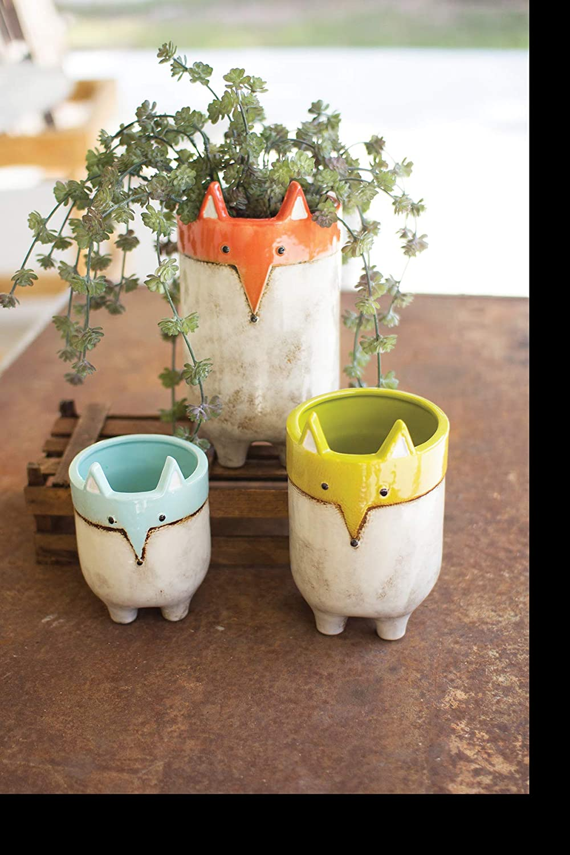GwG Outlet Set of Three Ceramic Fox Planters CDV1865
