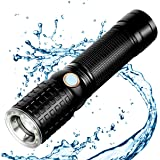 Zglon 1000 Lumen High Powered Bright LED Tactical Waterproof Handheld Flashlight Torch with Zoomable Focus 7 Light Modes, 18650 Rechargeable Battery For Cycling Hiking Camping Emergency
