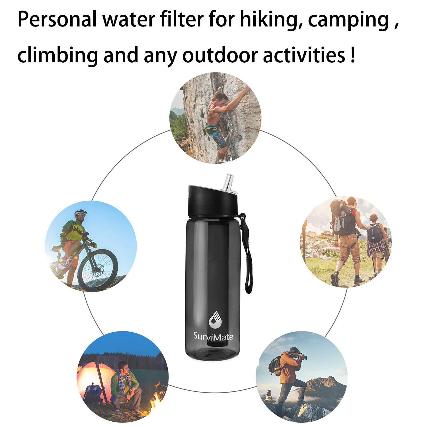 Backpacking and Travel Hiking SurviMate Filtered Water Bottle BPA Free with 4-Stage Intergrated Filter Straw for Camping