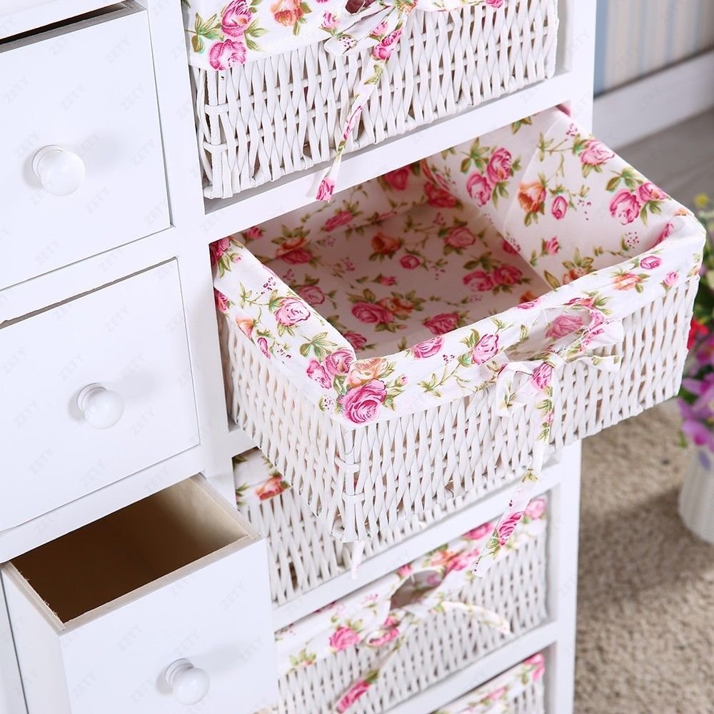 5 Drawers 5 baskets Storage Dresser Chest Cabinet Wood Bedroom Furniture by Heaven Tvcz (Image #5)