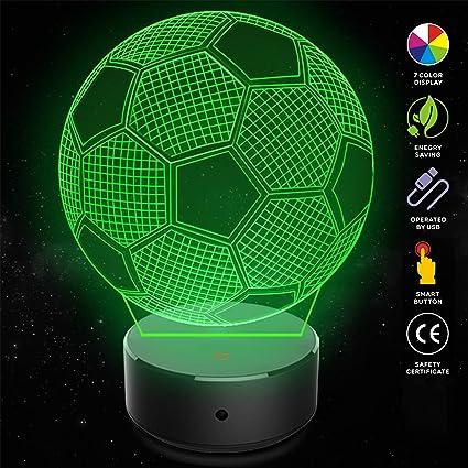 8650f3bb6 LED Soccer Ball 3D Night Lights for Kids 3D Optical Illusion Lamp for Room  Table Desk