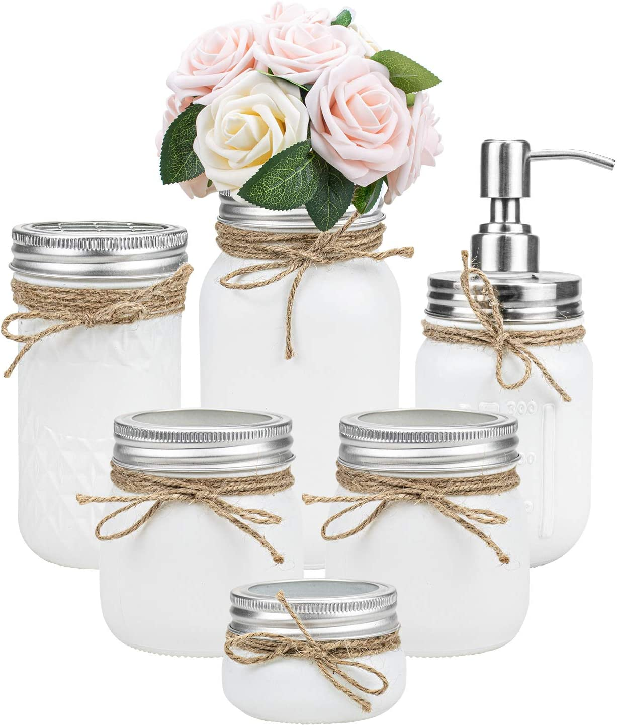 Tebery 6 Pack White Painted Mason Jar Bathroom Accessories Set Rustic Farmhouse Decor Bathroom Countertop Vanity Organizer