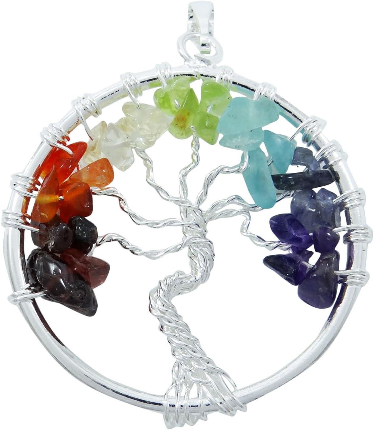 Harmonize Árbol de la Cura de Cristal de Vida de los Chakras Colgante Semipreciosa Chips Reiki Piedras Preciosas Don Espiritual