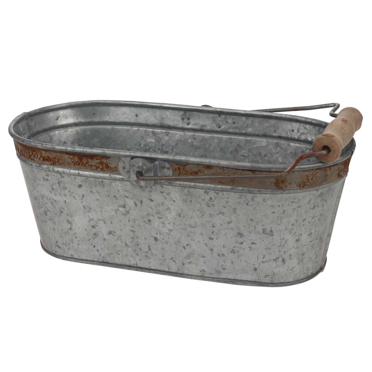Stonebriar Small Aged Galvanized Metal Oval Bucket with Rust Trim and Wooden Handle, Country Rustic Home Decor, For Centerpiece, Office Organization, Bathroom Storage, or Party Decorations by Stonebriar