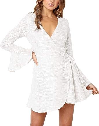 Female Dress Ruffle Pleated Knee Length 1pc Long Sleeve Knitted For Women V Neck
