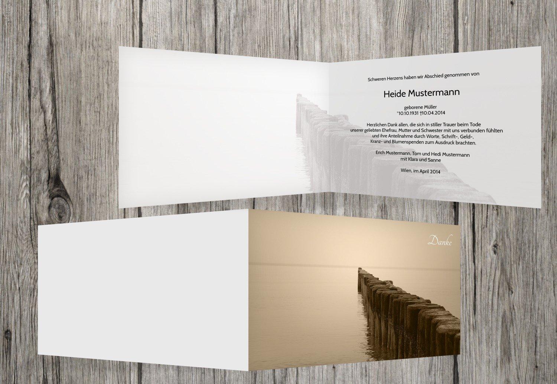 Tarjetas de agradecimiento luto Puente, beige, 80 Karten