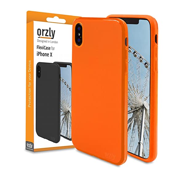 buy online 8b5f1 cf228 Orzly iPhone X/iPhone Xs Case Orange, FlexiCase for Apple iPhone X/iPhone  10 / iPhone Xs - Protective Flexible Gel Phone Case in Matt-Finish Orange
