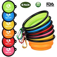 Agecash Collapsible Dog Bowl,6 Pack Silicone Portable Travel Dog Bowls with Carabiner Clip, for Dog Cat Bowls-with 6-Color Set …