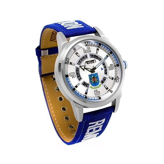 Reloj AVIADOR AV-1089-3 - Reloj piloto hombre 10 atm Full Calendar ACAR, con esfera metalizada y pulsera bordada RBF de color azul en nylon y piel, ...