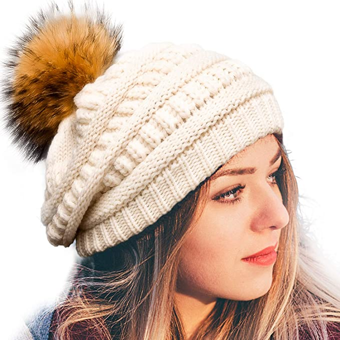 Women's Winter Knit Slouchy Beanie Hat Warm Skull Ski Cap