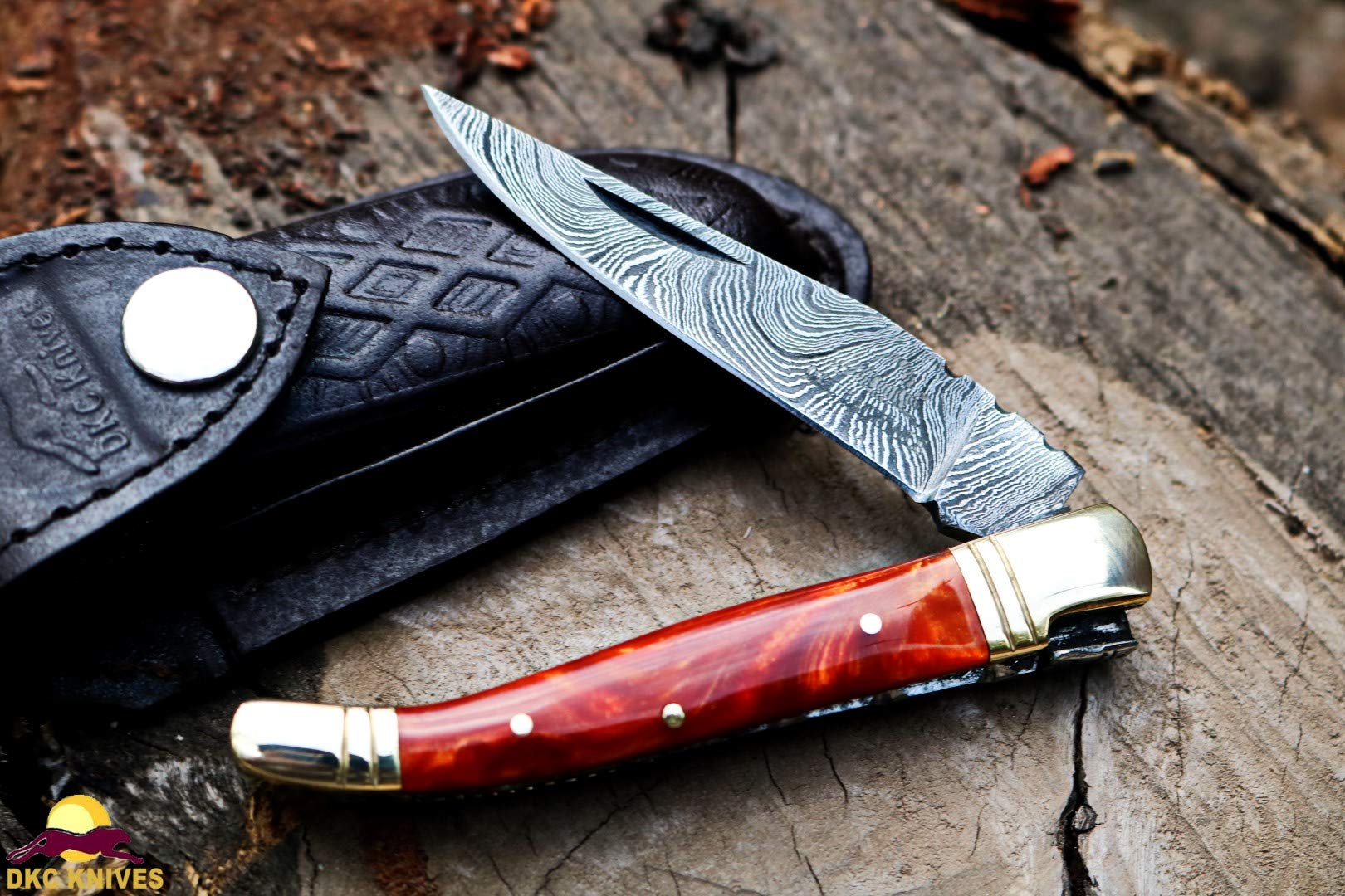 DKC Knives DKC-698-OP-P-DS Orange Pearl Cobra Resin Prince Laguiole Damascus Steel Folding Pocket Knife 4'' Folded 7.25'' Open 3oz 3.5'' Blade Prince Series
