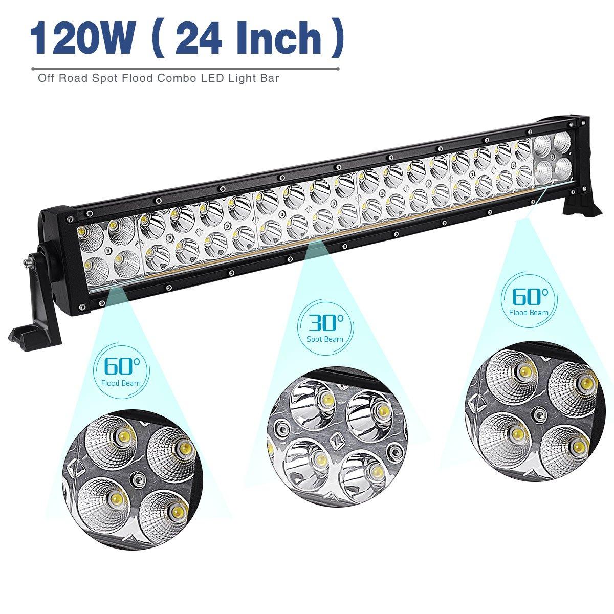 Amazon.com: LED Light Bar YITAMOTOR 2PCS 24 inch Light Bar Spot ...