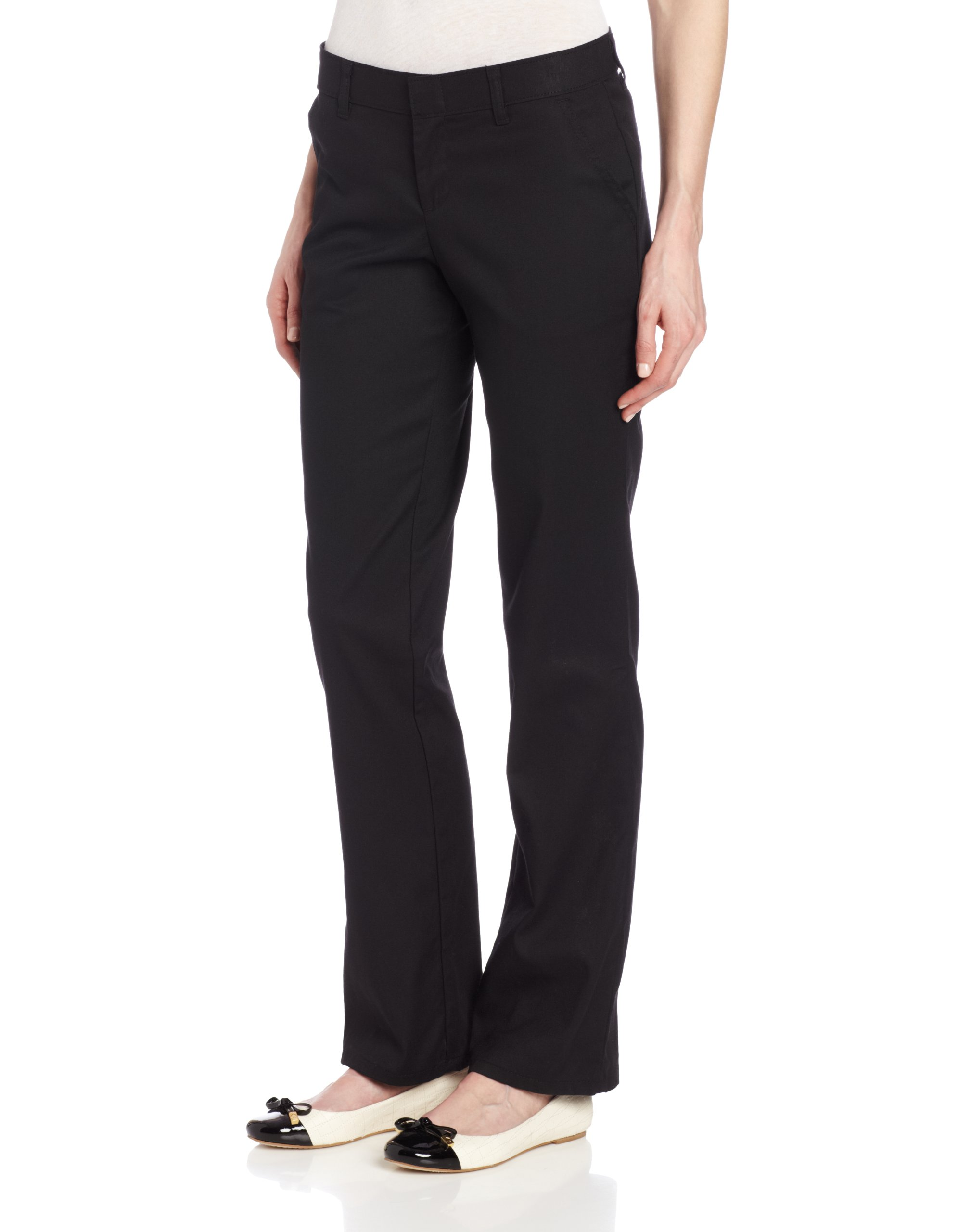 Dickies Women's Wrinkle Resistant Flat Front Twill Pant with Stain Release Finish, Black, 0 Regular
