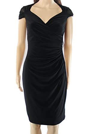 3f7ab3bf Image Unavailable. Image not available for. Color: Lauren by Ralph Lauren  Womens Ruched Surplice Sheath Dress Black 8