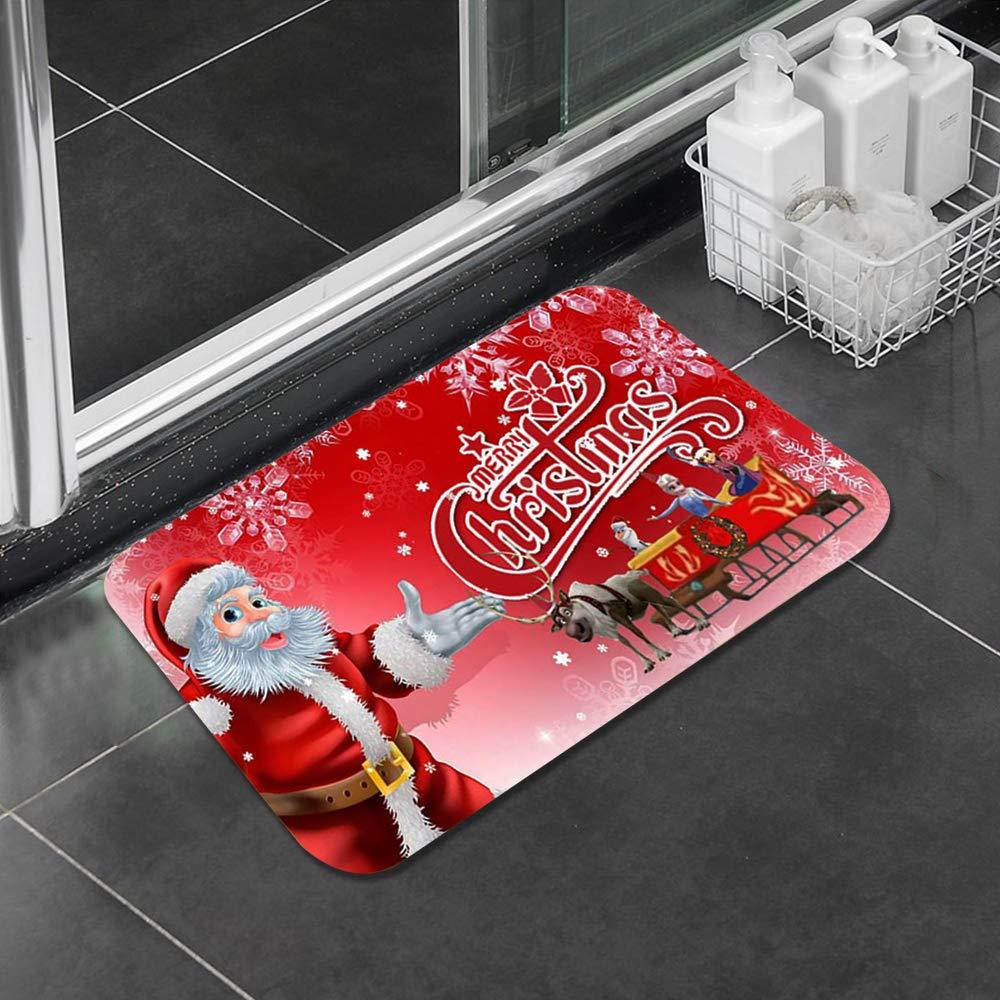 CTGVH Bedroom Carpet Doormat Soft Flannel Red Christmas Rug Non-Slip Living Room Door Floors Mat Decoration Kids Bathroom 1 Pcs 40 x 60 cm