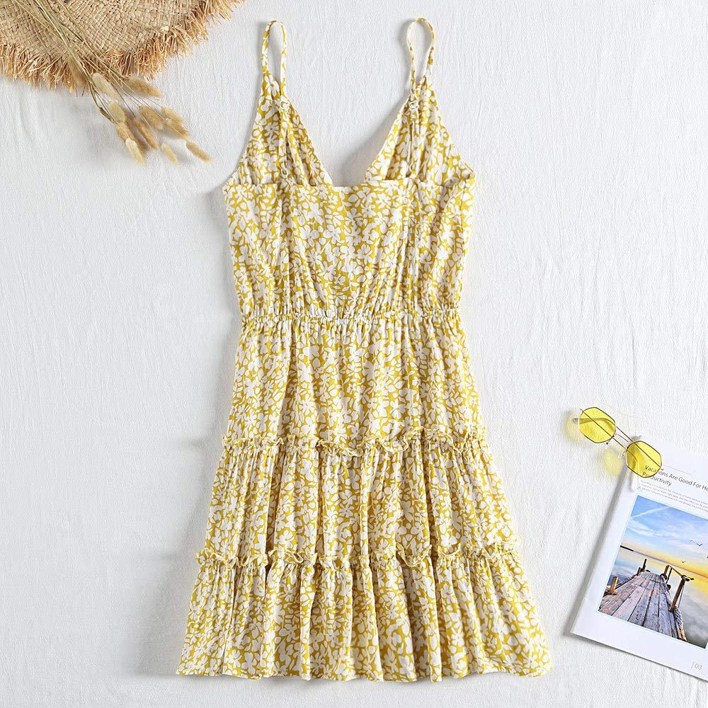 HZD V Neck Spaghetti Short Boho Dress Women Summer Girl Holiday Party Dress Female Floral Print Beach Yellow