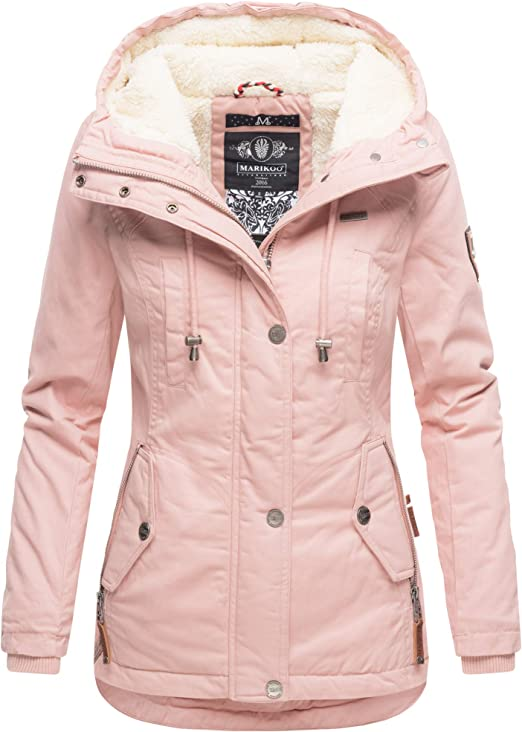 Marikoo Damen Winter Jacke Stepp Parka Mantel Teddyfell warm