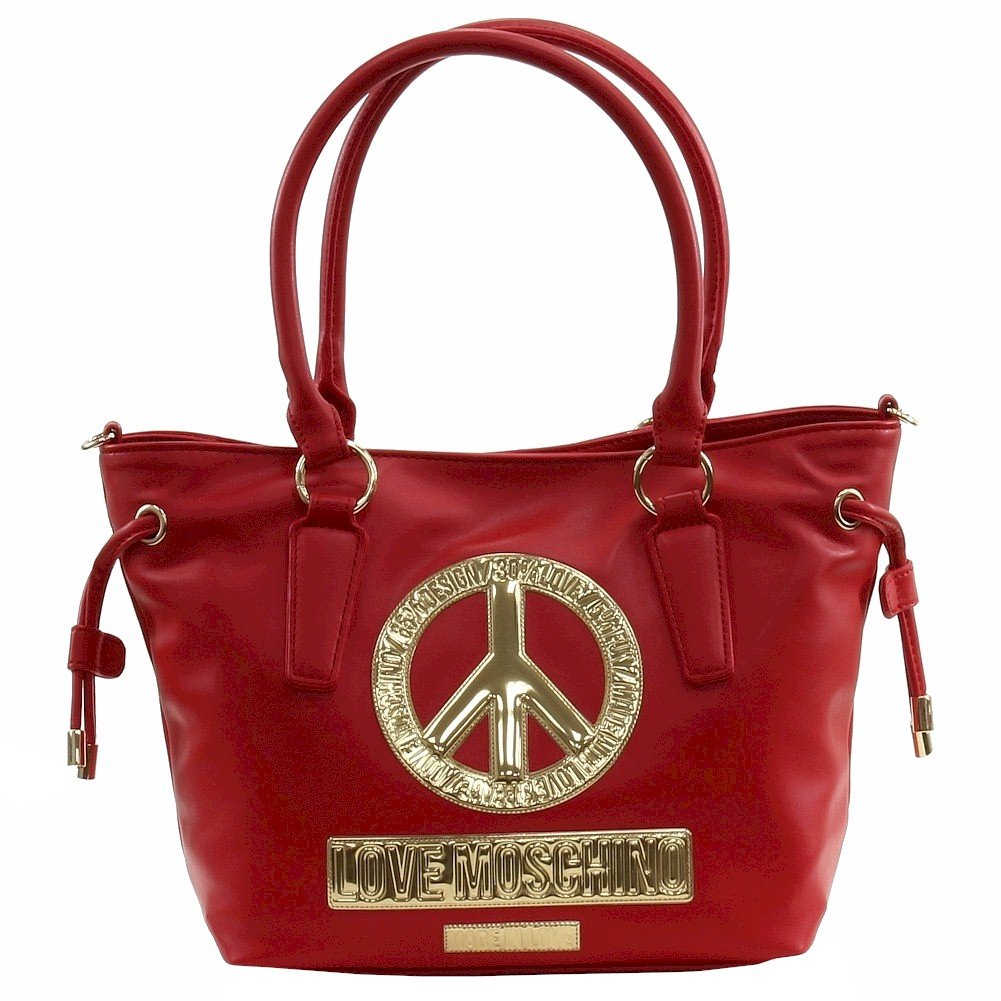 Love Moschino Women's Peace Red Leather Bucket Tote Handbag