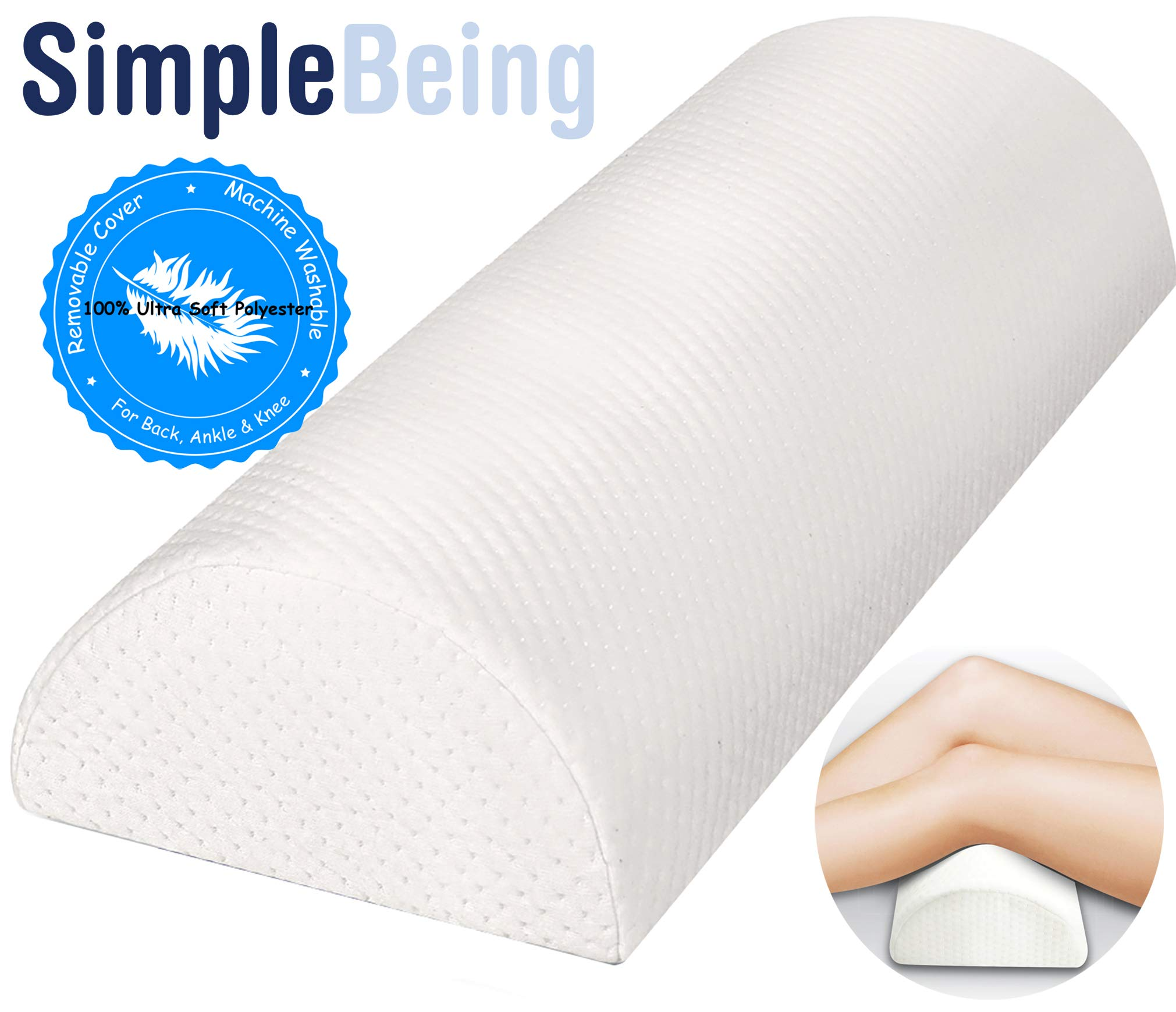 Simple Being Half Moon Bolster Pillow, Supports Side or Back Sleepers, Knee Leg Back Pain Relief, with Washable Removable Cover