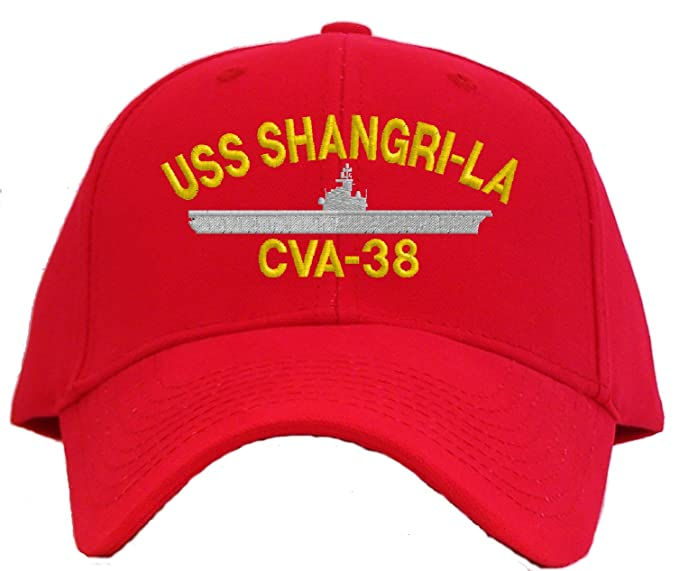 b1bbf6b4 Amazon.com: USS Shangri La CVA-38 Embroidered Baseball Cap - Red ...