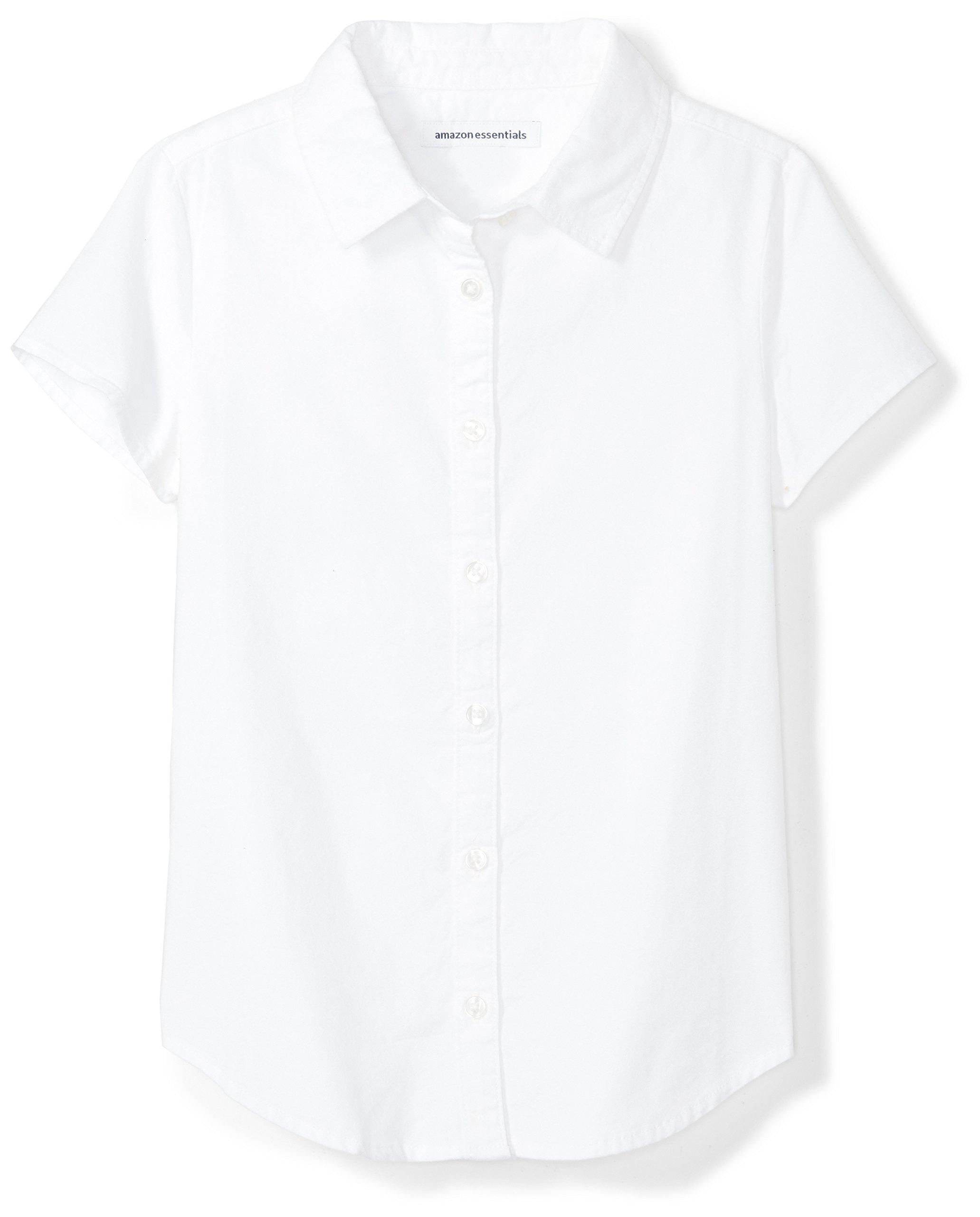Amazon Essentials Girls' Short Sleeve Uniform Oxford Shirt, White, XS (4-5)