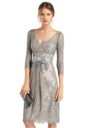 3/4 Sleeves Silver Lace Mother of The Bride Dresses Wedding Evening ...