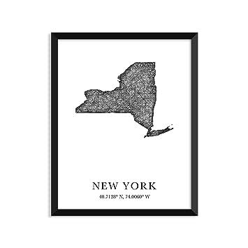 New York Longitude Latitude City Maps State Prints Art Print