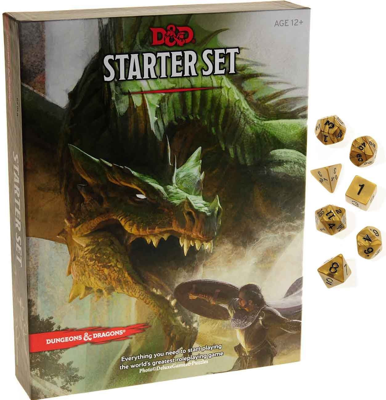 Dungeons & Dragons Starter Set _ with Bonus Gold Swirl 7-dice Set _ D&D Starter Set by Deluxe Games and Puzzles