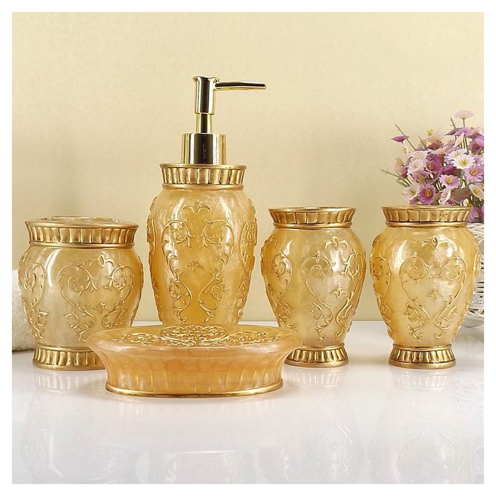 Vintage Golden Bathroom Accessories, 5Piece Bathroom Accessories Set, Bathroom Set Features , Soap Dispenser, Toothbrush Holder, Tumbler & Soap Dish - Bath Gift Set