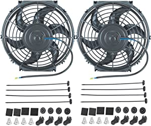 "American Volt 12 Volt Electric Radiator Cooling Fan Upgraded 90W Motor 1600 CFM High Performance Thermo Cooler (10"" Inch, Dual Fan)"